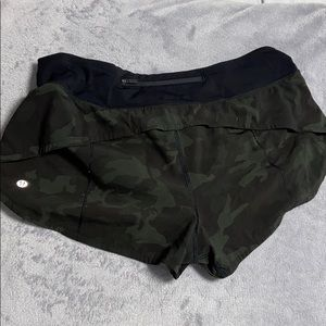 Green and Black Camo Lululemon Shorts